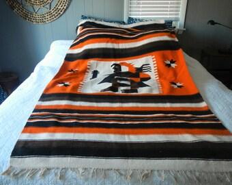HUGE Mexican Southwestern Blanket / 1980s tribal