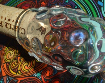 Trippy Dewdropped Magnifying Jar - Handblown Glass