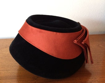Vintage Black Felt and Rust Satin Hat with Amber Embellishment by Opera Italy Antique Millinery 40's 50's