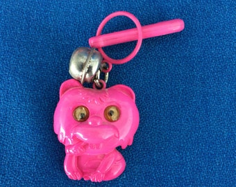 Vintage 80's Plastic Bell Clip Charm Pink Silly Bear with Google Eyes Toy Necklace Jewelry Pendant
