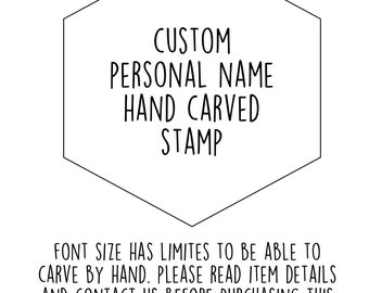 custom name stamp. personalized hand carved stamp. choose first name, family name, shop name. teacher's stamp. mounted. read more info