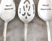Vintage Silverware Serving Spoons Set of 3 HELLO BEAUTIFUL Ornate Serving Pieces Hand Stamped OOAK