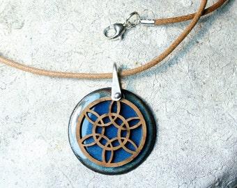 Mandala Necklace, Blue Enamel Necklace, Yoga Jewelry, Enamel Necklace, Mandala Jewelry, Meditation Jewelry, Spiritual Jewelry