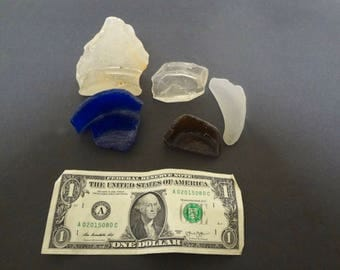 5 Sea Glass Jar Bottoms With Partial Sides Ocean Tumbled 3 Clear 1 Brown 1 Blue Various Sizes Beach Resort