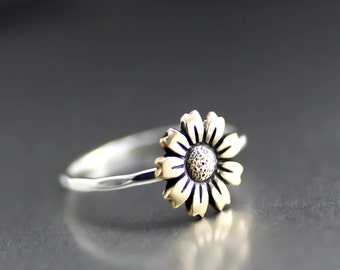 Mammoth Sunflower Ring, Flower Ring, Stack Ring, Silver Stack Ring, Sunflower Stack Ring, Boho Ring, Sterling Silver, Antiqued, Stack Ring
