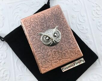Owl Cigarette Case Rustic Antiqued Copper Case Gothic Victorian Art Nouveau Style Vintage Inspired Copper Steampunk Case Silver Owl Head