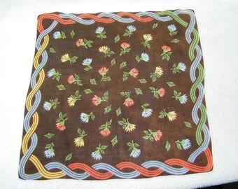 "Vintage  15"" Linen Fall Autumn Floral Wedding Favor, Craft Handkerchief - 9804"