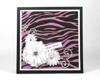 Birthday card, zebra print birthday, purple, feminine birthday, animal print birthday, 21st birthday, 30th birthday, 40th birthday