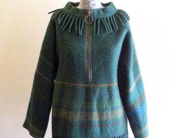 Striped Scandinavian 50s / 60s fringed blanket poncho sz. 36 Small / Medium