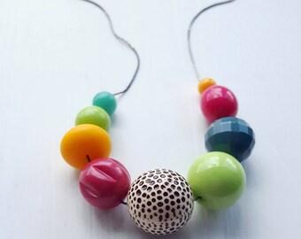 hiding in plain sight - necklace - vintage lucite - jewel tones - chunky necklace - leopard spots