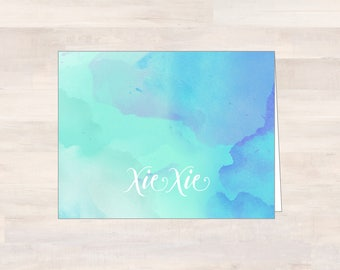 XIE XIE, Watercolor Thank You Cards, Blank Watercolor Note Cards, Teal/Turquoise/Blue Watercolor Cards, Note Card Set, Chinese Thank You
