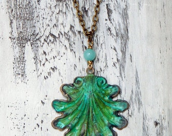 Shell Necklace Patina Shell Jewelry Beach Jewelry Seashell Pendant Nautical Necklace Verdigris Patina Shell Ocean Jewelry Beach Necklace