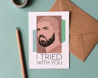 Drake Postcard - I Tried With You // Hip Hop Postcard, Song Lyric Art, Drake Portrait Drawing, Pop Art Print Wall Decor, Music Fan Gift