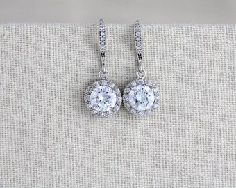 Crystal Bridal earrings, Solitaire Wedding necklace, Bridal jewelry set, Necklace set, CZ Wedding necklace, Wedding earrings, Halo earrings