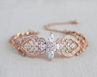 Rose gold Bridal bracelet, Crystal Wedding bracelet, Wedding jewelry, Swarovski bracelet, Cuff bracelet, Art Deco bracelet, Vintage style
