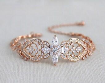 Rose gold bracelet, Bridal jewelry, Bridal bracelet, Crystal Wedding bracelet, Swarovski bracelet, Cuff bracelet, Vintage style bracelet