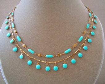 Bohemian -- Turquoise Enamel and Brass Bead Double-Strand Necklace