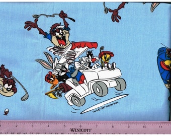 Looney Tunes Cotton Novelty Fabric Material Taz, Tasmanian Devil  Devil, Bugs Bunny, Tweety, Daffy Duck, Sylvester Cat Riding Golf Cart 1997
