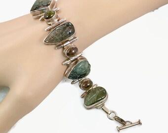 Tourmaline Bracelet, Carved Stones, Floral, Sterling Silver, Vintage Bracelet, Blue, Green, Pink, Links, Heavy Silver, Wide, Statement