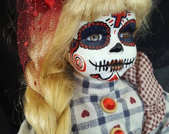 12 INCH Repainted, Day of the Dead, Dia de los Muertos, OOAK Porcelain ART Doll
