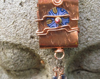 Tibetan inspired prayer word pendant in brass with recycled tin- Inspire