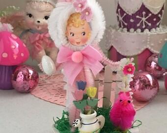 Vintage Inspired Easter SuGaR SwEeT Spring Keepsake BUNNY HOP Diorama Sweet Miss Hazel