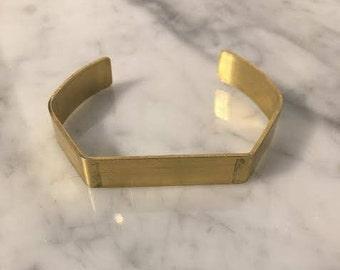 Med Turkish RAW Brass Geometric Cuff Bangle Bracelet