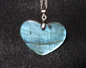 Blue Flash Labradorescence Exists Labradorite Gemstone Heart Pendant Necklace Sterling Silver Chain Made in Newfoundland