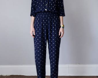 90s navy print dolman jumpsuit one piece (xs - s)