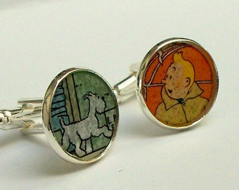 Cuff Links - Upcycled - vintage comic book - SNOWY and TINTIN - comic - Recycled into - silver plated cuff links