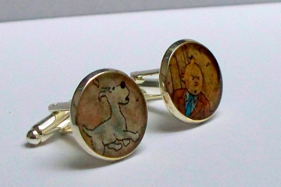 Cuff Links - Upcycled - vintage comic book - TINTIN and SNOWY - comic - Recycled into - silver plated cuff links