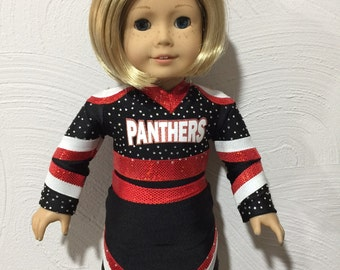 Made to order Panthers cheer outfit for American Girl Doll
