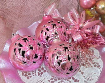 VINTAGE PINK ORNAMENTS three Christmas indent ornaments for girly girl holiday decorating!!!