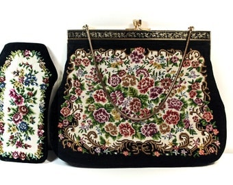 Petit Point Needlepoint Purse, Vintage Handbag, Victorian Clutch, Includes Glasses Case, Evening Bag, Vintage Clutch, Tapestry Floral Bag