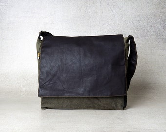 mens messenger bag, mens canvas messenger bag, upcycled bag, black messenger bag men, vegan messenger bag laptop, mens satchel bag