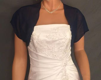 Chiffon bolero jacket bridal shrug short sleeve wedding wrap cover up CBA200 AVAILABLE IN navy blue and 6 other colors. Small- Plus size!