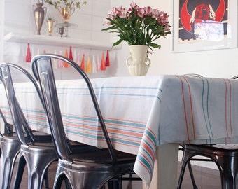 LAST ONE - Vintage European  Linen Tablecloth / Striped Metis Linen / Mangle Cloth / Rustic Modern / XL