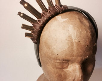 Brown Leather Wrapped Bullet Shell Headpiece