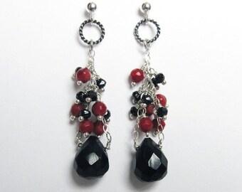 Black Onyx Earrings- Oxidized Silver