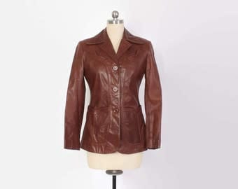 Vintage 70s LEATHER JACKET / 1970s Buttery Soft Chestnut Brown Western Detail Fitted Blazer