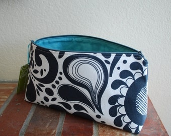 Large Fabric Zippered Pouch / Bag with Flat Bottom & Full Lining - Charcoal and White Paisley Fabric with Aqua Lining