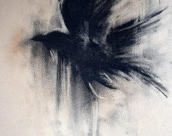 "Original Charcoal Drawing Flying Crow Blackbird Dark Art 8x12"""