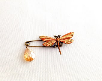 Dragonfly kilt pin brooch, dragonfly shawl pin, patina dragonfly brooch, peach orange gold