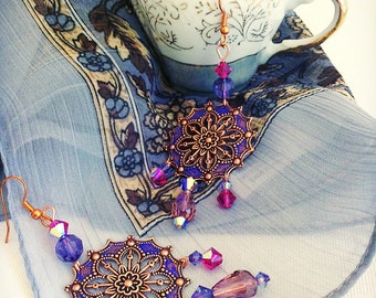 Moroccan earrings  exotic gypsy chandelier earrings, indigo blue fuschia bohemian jewelry, copper or niobium ear wires