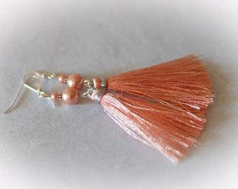 Peach Silk Tassel Earrings. Coral - Apricot Silk Tassels. Swarovski Crystal Pearls