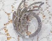 Shimmery Open Work Clear Rhinestones / Rhinestone Pin / Brooch / Broach, Bride / Bridal / Wedding / Evening, Silver Tone Metal