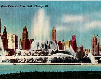 Vintage Chicago Postcard - Buckingham Fountain in Grant Park (Unused)