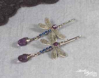 AMETHYST DRAGONFLY EARRINGS - dangle earrings, silver earrings, dragonfly jewelry, victorian jewely, art nouveau jewelry, elegant earrings