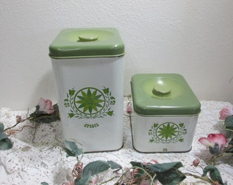Canisters Green and White Set of 2 Metal Farmhouse Kitchen Containers