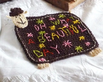 Personalized Coaster- Crochet Coaster - Sheep Coaster - Custom Coaster - Lamb Coaster - Mothers Day Gift - Home Decor - Gift under 20